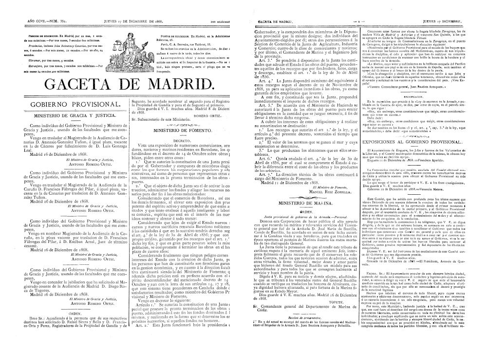 Edición de La Gaceta de Madrid en la que se autorizó la creación de la Junta de Obras del Puerto de Barcelona / BOE