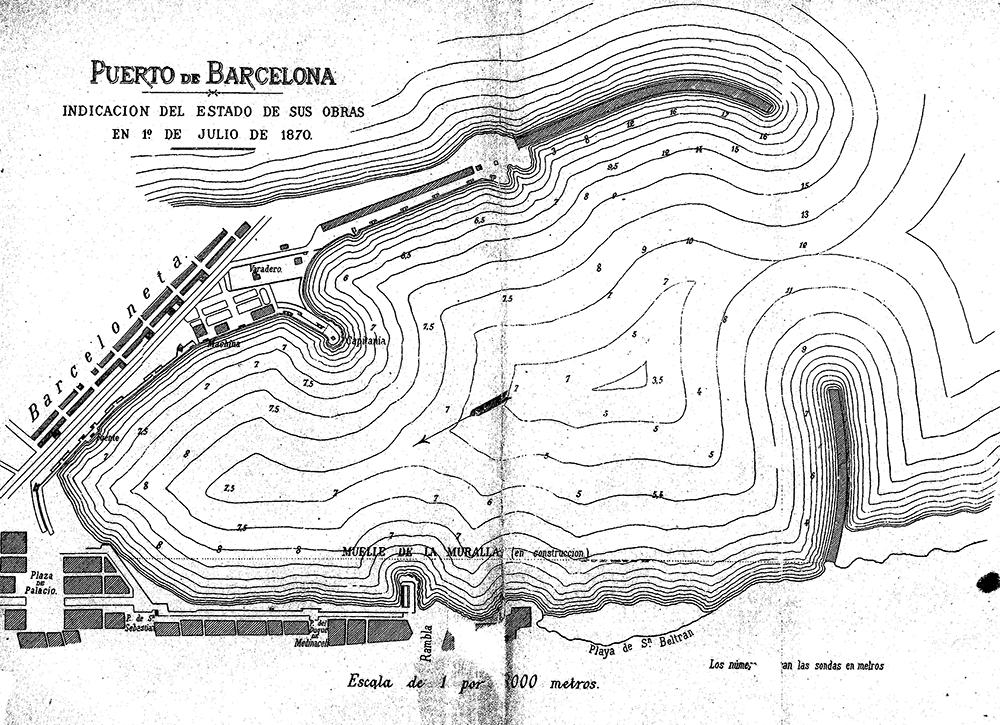 Mapa en què s'informa de l'estat de les obres el juliol de 1870 / Autoritat Portuària de Barcelona