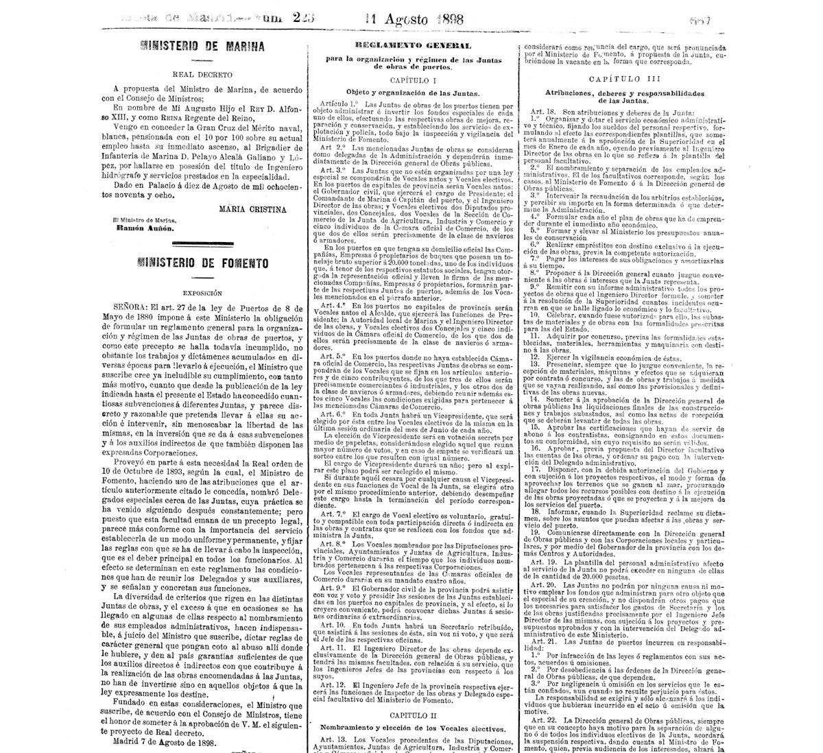 Real Decreto de agosto de 1898 que fija la organización y régimen de las Juntas de obras de los puertos / BOE